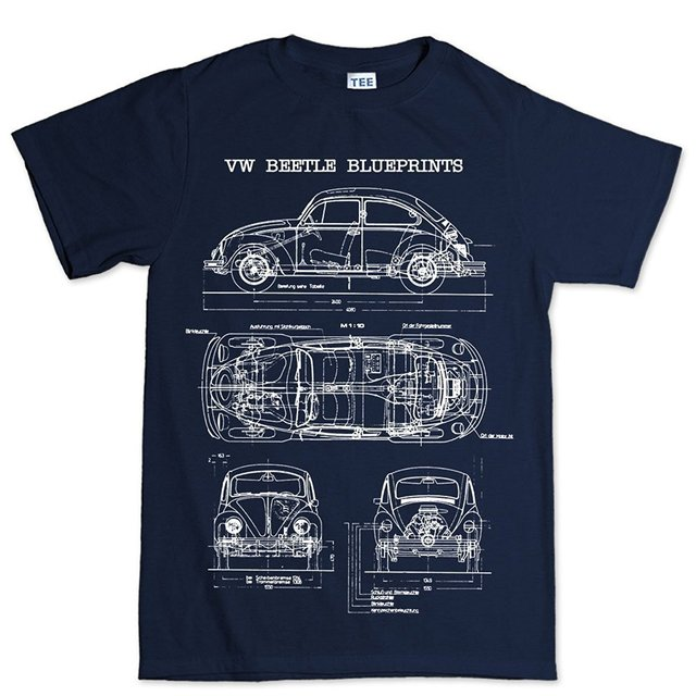 a8fd712262 Beetle Bug Classic Blueprint T Shirt Print T-Shirt Fashion Short Sleeve New  Fashion Casual Cotton Short-Sleeve