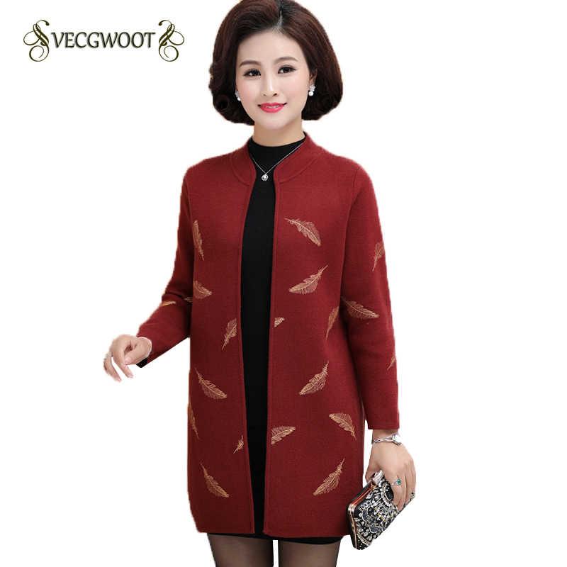Свитер Для женщин осенне-зимнее пальто средней длины Длина с длинными рукавами кардиган для среднего возраста свитер большого размера женские M-3XL WYT435
