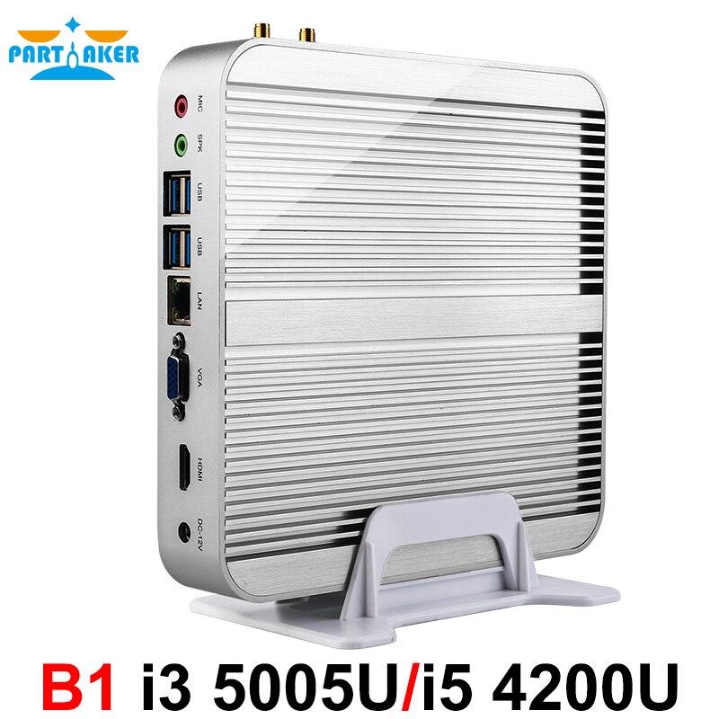 Intel nuc core i5 mini pc sin ventilador, i3 nettop mini pc con 4 * usb caja de