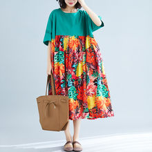 2019 Plus Size Dresses Summer Floral Printing Short Sleeve High Waist 5XL 6XL Big Size Dress Fmelae Vestidos J173(China)