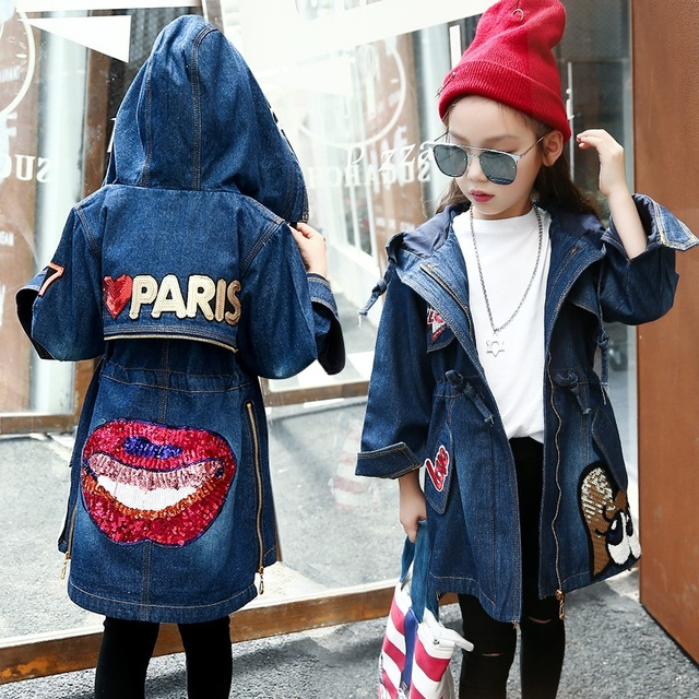 New 2019 Cartoon Thickened Baby Girls Clothes Autumn Winter Embroidered Sequins Denim Jackets Female Children Casual Clothing