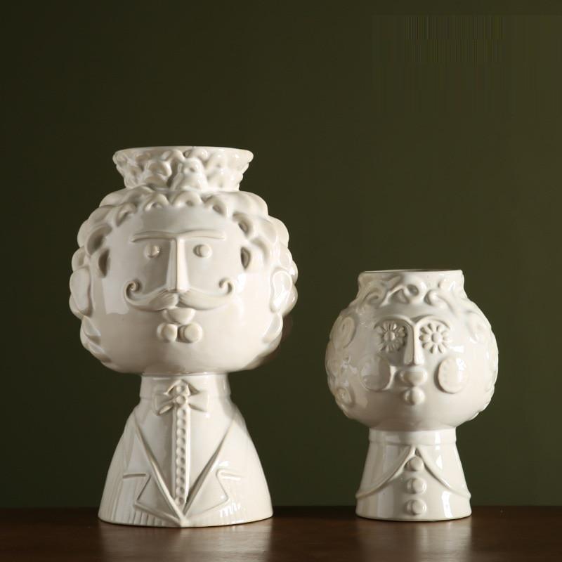 Rilievo In Ceramica Vaso di ceramica Creativa Sorriso Barba Uomo Viso Vaso Vaso Complementi Arredo Casa di Arte Del Fiore Vasi Da Fiori Fioriere R985 - 4