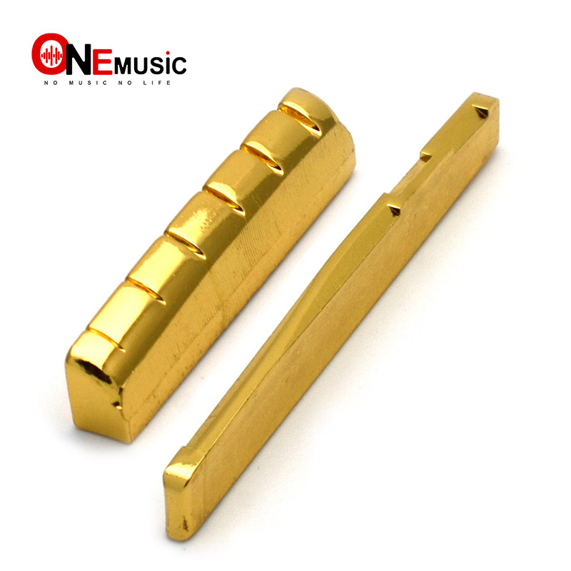 6 string slotted brass gold plated acoustic guitar nut and bridge saddle guitar parts gold in. Black Bedroom Furniture Sets. Home Design Ideas
