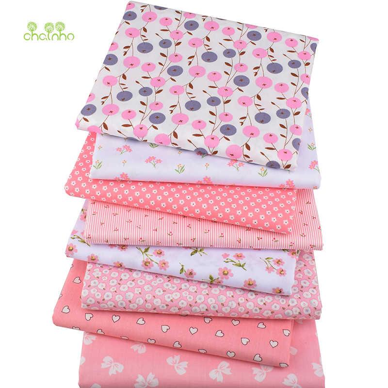 Chainho, 8 шт./лот, розовый Цветочная серия, печатные твиловая, хлопковая ткань, Лоскутная Ткань, DIY Швейные материал для стеганых изделий для малышей и детей