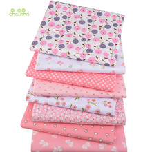 Chainho,8pcs/lot,Pink Floral Series,Printed Twill Cotton Fabric,Patchwork Cloth,DIY Sewing Quilting Material For Baby&Children(China)
