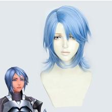 Kingdom Hearts III Аква косплей парик ролевые вечерние волосы для рождества Хэллоуин синий GANME аниме волосы парики+ парик колпачок