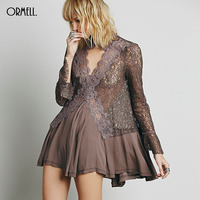 ORMELL Women Sexy Lace Chiffon Patchwork Mini Dress Long Sleeve Back Split Ladies Autumn Casual Brand