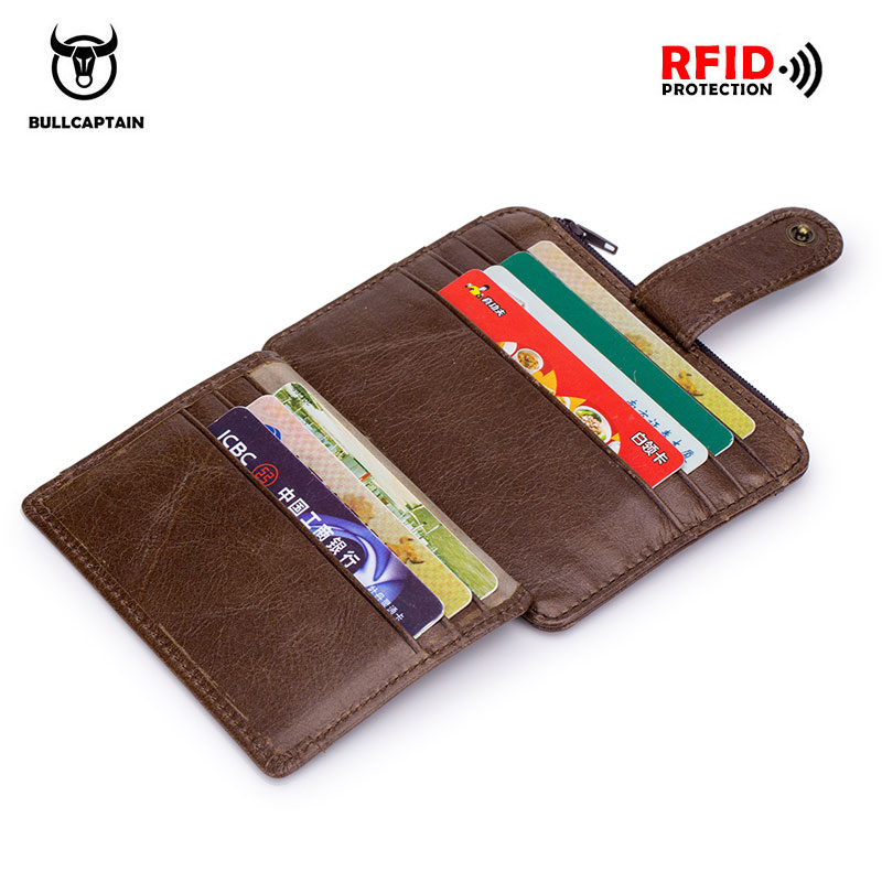 BULLCAPTAIN Genuine Leather RFID Blocking zipper card holder Credit Cart Wallet mini slim wallet card & id holders man business