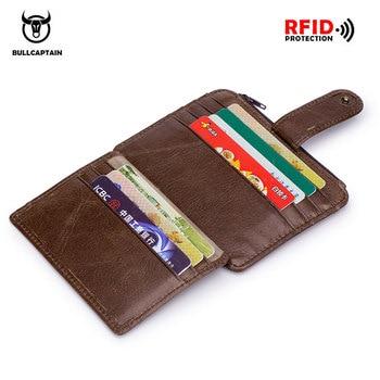 cc69562e1 BULLCAPTAIN de cuero genuino RFID de bloqueo de la cremallera del  sostenedor de la tarjeta de crédito del carrito de la carpeta mini delgado  de la tarjeta y ...