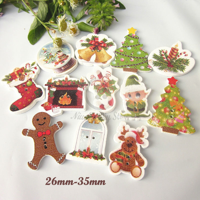 Christmas material 50pcs mixed christmas decorative for Decorative pins for crafts