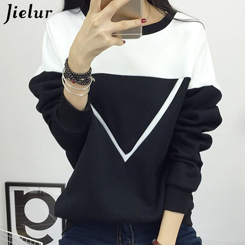 2018 Winter New Fashion Black and White Spell Color Patchwork Hoodies Women V Pattern Pullover Sweatshirt