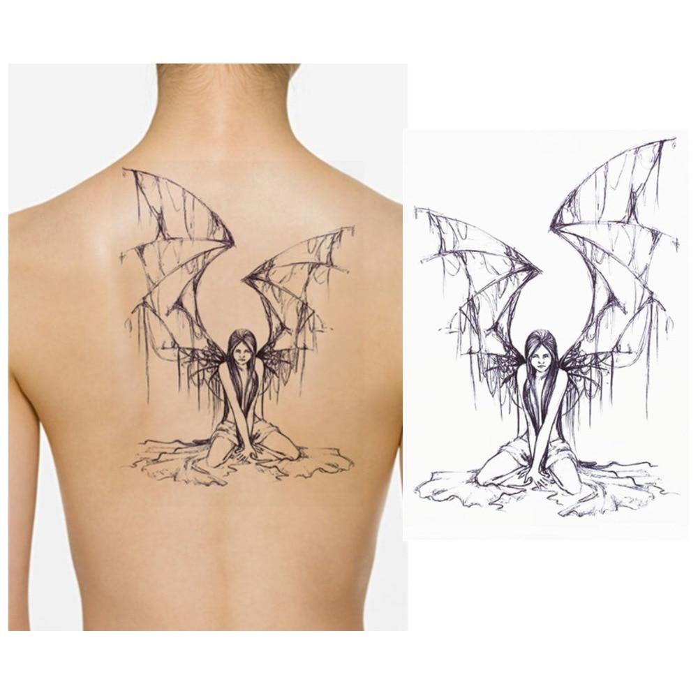 Wing tattoo design - 2pcs Big Wings Tattoo Design Angel Wings Temporary Tattoo Body Art Flash Tattoo Sticker Waterproof Fake