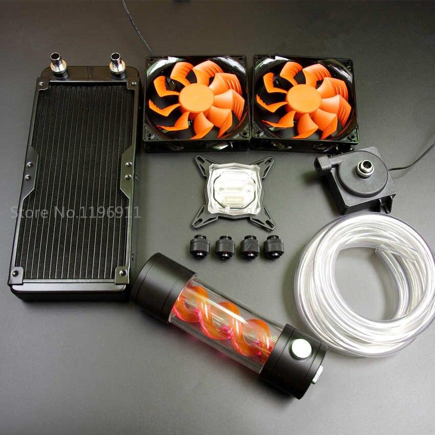 Для Intel AMD 115X компьютер процессор GPU Видео Графика светодиодный водяного охлаждения cooler для радиатор блока вируса насос для резервуара с вод