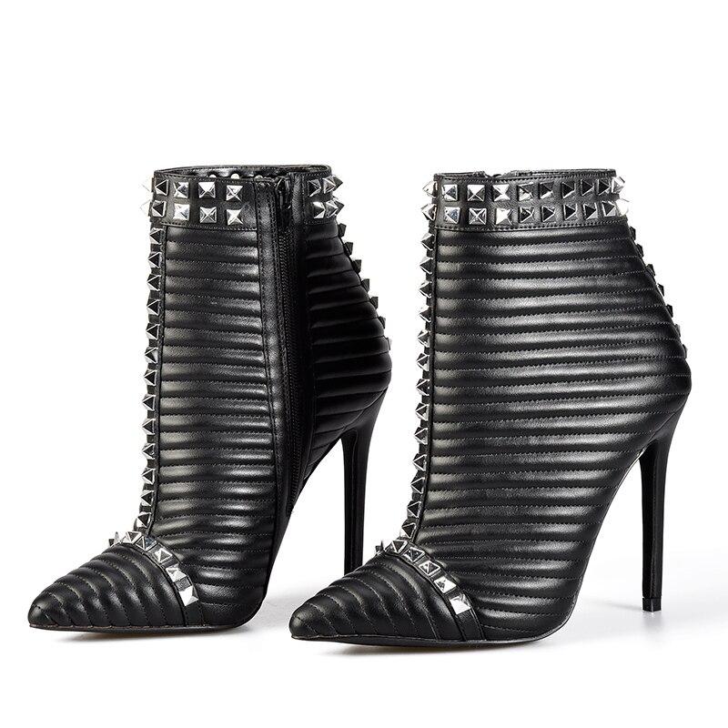 Cremallera Botas Tobillo Con Negras Botines Stiletto Mujer Zapatos Black Palmas Rosa Tacones red Invierno Mujeres Altos Remaches nfYPxwAq