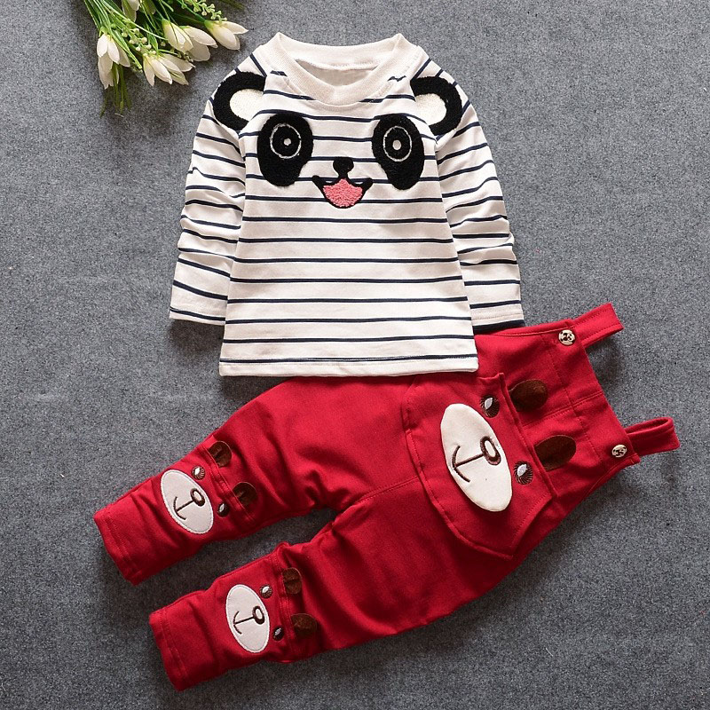 roupas de bebe Infant Clothing Sets Baby Boys Striped Panda T-shirt + Overalls Trousers Kids Two Pieces Suits пальто lost ink lost ink lo019ewtnd46