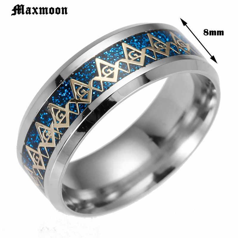 Maxmoon Novo Anel Maçom Maçônica Anéis Para Mulheres Dos Homens de Prata de Ouro Preto 316L Encantos De Aço Inoxidável Maçonaria moda Jóias