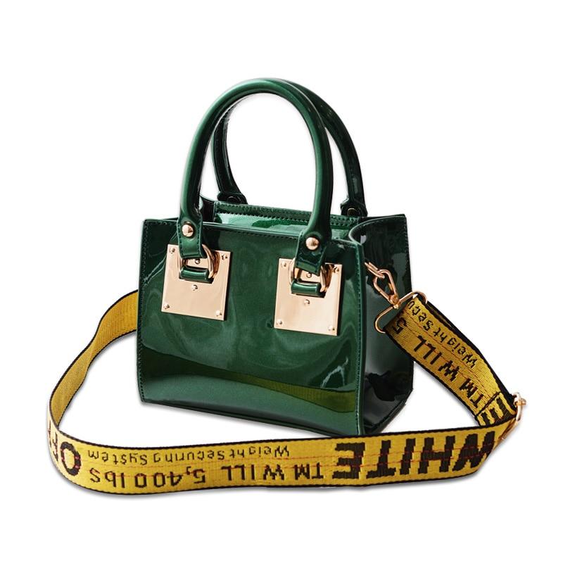 Luxury Patent Leather Handbag 2017 New Fashion Bright Women Tote Bag Handbag with Wide Strap Famous Brand Shoulder Messenger Bag patent leather handbag shoulder bag for women
