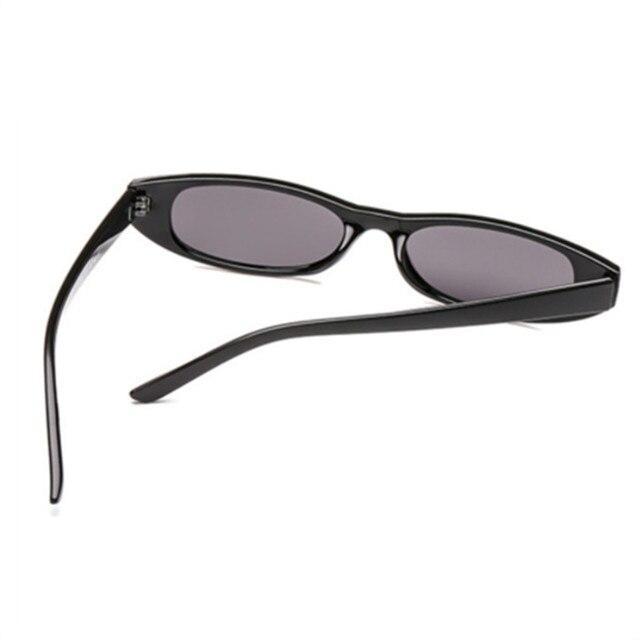 Sunglasses Women Small Rectangle Cat Eye Brand Designer Retro Skinny Eyewear Black Frame Red Sun Glasses 4