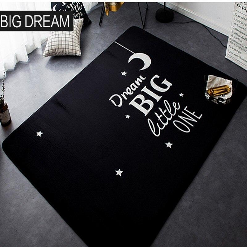Мультфильм большой сон черный ковер дети ползают Спящая спальня гостиная Нескользящие коврики 145 см 195 см