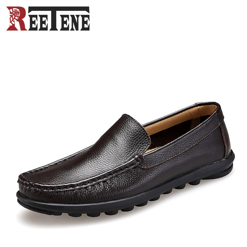 Genuine Leather Slip-On Men Loafers Spring Summer Comfortable Driving Shoes Handmade Sewing Male Doug Shoes Breathable Flats genuine leather men casual shoes summer loafers breathable soft driving men s handmade chaussure homme net surface party loafers