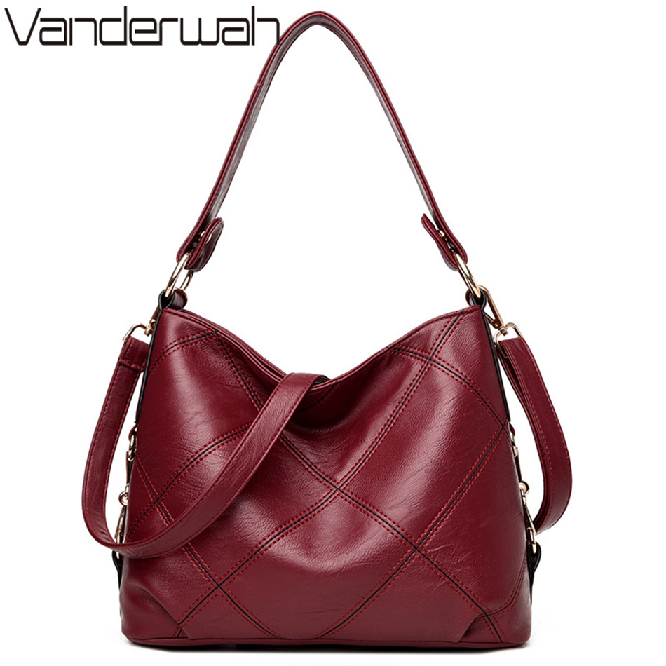 VANDERWAH Lady Top-handle bags handbags women famous brands female casual Big shoulder cross body bag Tote for girls SAC A MAIN 2017 famous brand large soft leather bag women handbags ladies crossbody bags female big tote green top handle bags sac a main