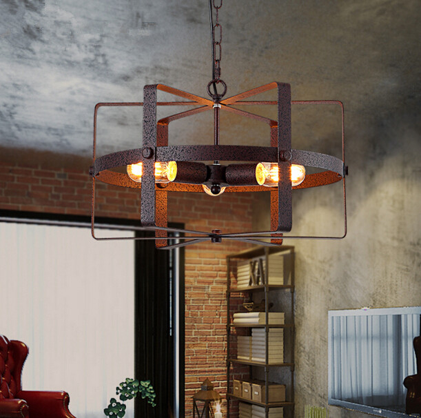 3 Heads Creative Restaurant Industry Retro Pendant Lamp Loft Personality Cafe Bar Iron Art Pendant Light Free Shipping loft style iron pendant lamp creative industry restaurant bar cafe personality studio gear 2 head pendant lights