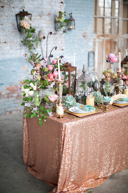 2017 New Rectangle Rose Gold Sequin Tablecloth 120x400cm Wedding Table Cloth Sparkle Linen
