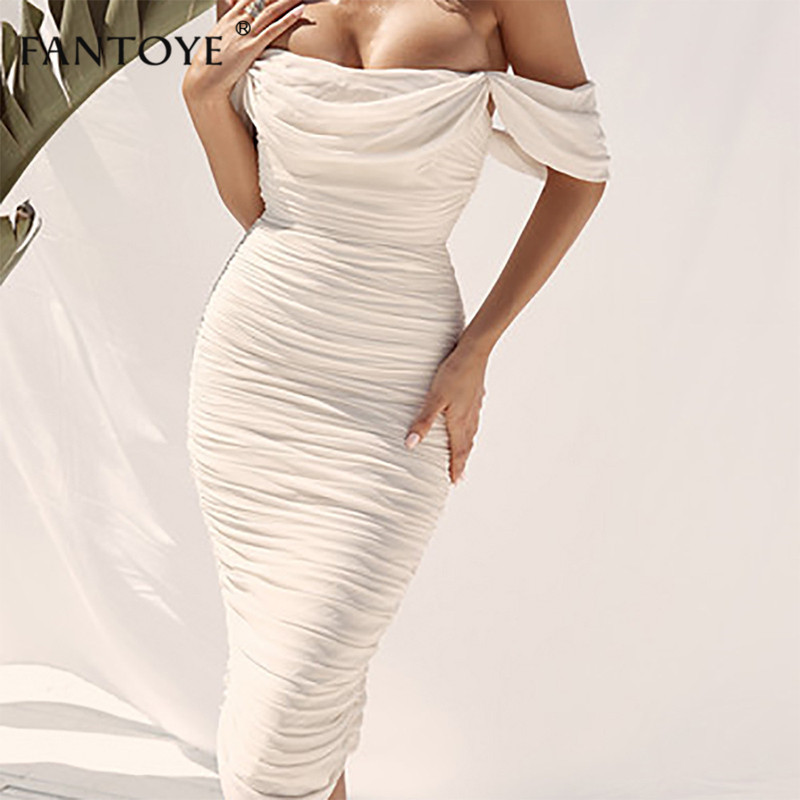 Fantoye Sexy Double Layer Off Shoulder Women Party Dress White Backless Slim Pleated Bodycon Dress 2019 New Maxi Dress Vestidos