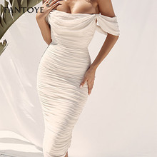 Fantoye Sexy Double Layer Off Shoulder Women Party Dress White Backless Slim Pleated Bodycon 2019 New Maxi Vestidos