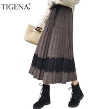 TIGENA 2018 Autumn Winter Vintage Woolen Skirts Women A-line High Waist Pleated Skirt Female Elegant Long Maxi Skirt Black Khaki