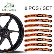 Earlfamily 13 см x 1,3 см 8x для KTM для езды наклейки на обод колеса полоски Комплект автомобиль мотоцикл Moto GP R48 стайлинга автомобилей