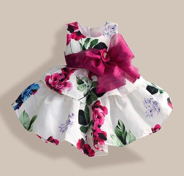 Natal vestido da menina de flor GRANDE cinto vermelho floral Tributo Seda festa vestido da menina princesa crianças formais vestido para 1-6A