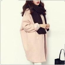 2016 Winter Fashion Women New Coat Long sleeve Medium Long Double Breasted Wool Coat Loose Thick Warm Woolen Coat Overcoat
