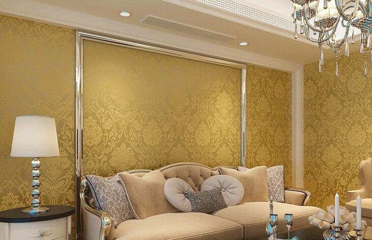 Aliexpresscom  Buy Non Woven Metallic Wall Paper Golden - Golden living room