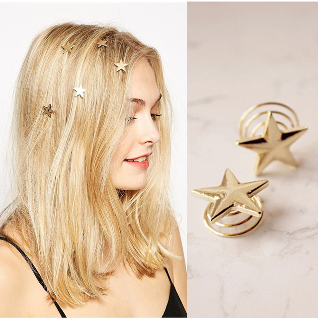 M MISM 4 PCS Set Girls Spiral Golden Star Hair Clips Small Simple Solid  Headwear American Fashion Style Shining Hair Accessories 240b59053755