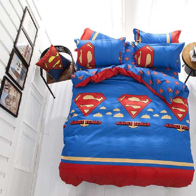 FGHGF Cotton Bedding Sets Cartoon Superman 4pcs Bed Set Duvet Cover Bed  Sheet Pillowcase Soft and Comfortable king queen size