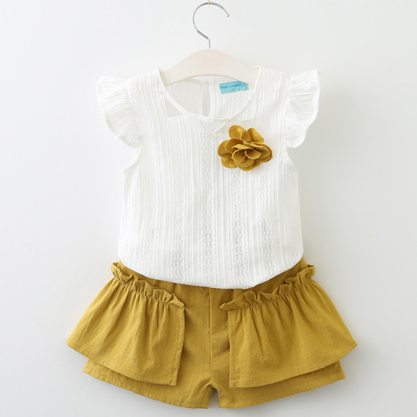 Girls Clothing Sets 2018 Summer Style Children Sleeveless Clothes Sets Kids Flower White T-shirt + Solid Color Pants 2pcs