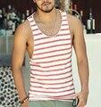 Mens Undershirt Regatas Vest Mangas camiseta Top para homens Da Aptidão do Verão Praia De Bambu algodão listrado 2016 novo