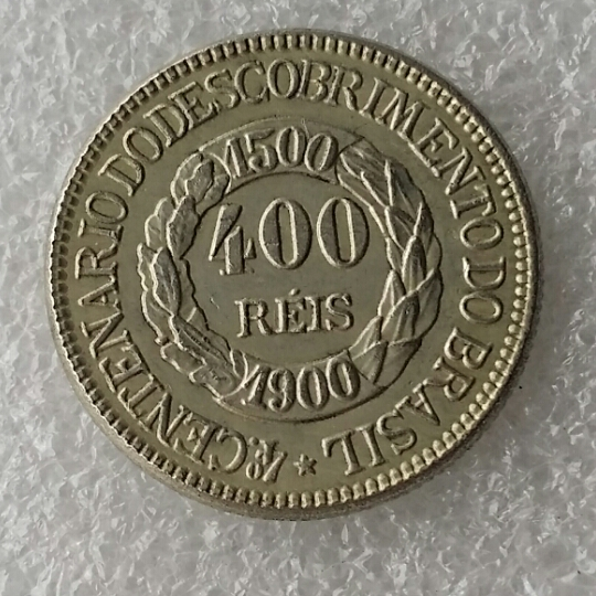Бразилия высокое Класс 1900 400 Reis серебро Копировать монет