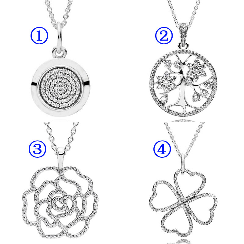 d32e00a04732e US $14.42 32% OFF|Shimmering Rose Logo Signature Family Tree Petals of Love  Necklace For Women Gift DIY Jewelry 925 Sterling Silver Necklace-in ...
