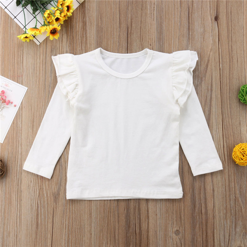 Toddler Baby Kids Girls Cotton Long Sleeve Solid Color Tee Tops T-Shirt Clothes White Black Wine RedToddler Baby Kids Girls Cotton Long Sleeve Solid Color Tee Tops T-Shirt Clothes White Black Wine Red