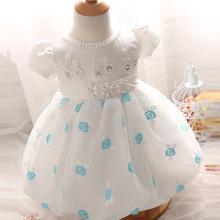 Pink Sky Blue Baby Girl Dress Newborn Little Girls Dresses Flower Gown Princess Wedding Birthday Party Cloth Tutu 1 Year 2 Years