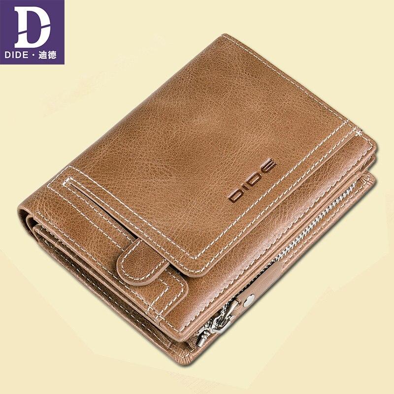 DIDE Male Wallet 100%Genuine-Leather Purses Card-Holder Coin Hasp-Design Vintage Men