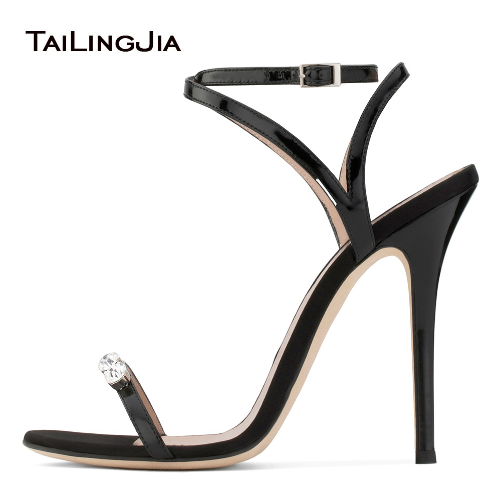 547bd81c074e Sexy Strappy High Heel Sandals with Crystal Shiny Black Dress Shoes Women  Summer Heels Ladies Large Size Party Shoes 2018