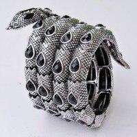 Vintage Silver Stretch Snake Bracelet Armlet Upper Arm Cuff Punk Rock Crystal Bangle Jewelry