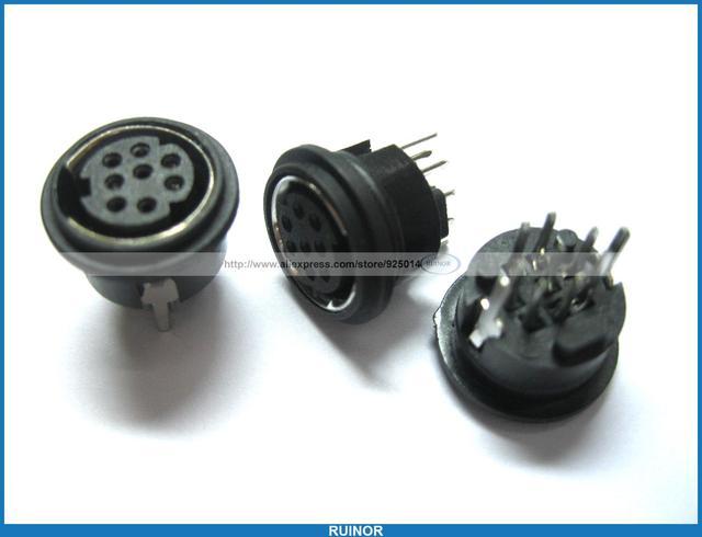 10 Pcs Mini 8 Pin Circular Pcb Mount Din Connector In
