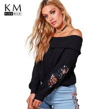 kissmilk Plus Size Floral Emborideried Women Sweatshirt Slash Neck Long Sleeve Female Clothing Big Lady Solid Pullovers