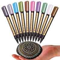 STA 10 teile/los Metallic Marker Stift für Rock Malerei Medium Punkt für Keramik Malerei Glas Becher Kunststoff Fotoalbum Karte, der