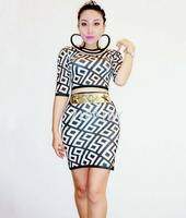 Black White Printed Stretch T shirt Skirt Outfit Set Nightclub Women Singer Sexy Dance Set Birthday Party Wear Clothes
