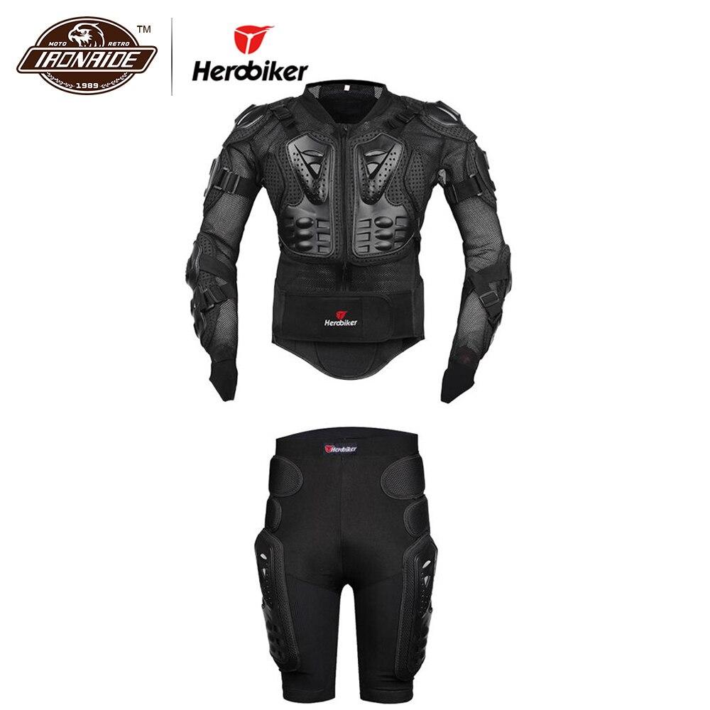 Nouveau Herobiker moto armure corporelle veste de protection + engrenages court pantalon protecteur de hanche Kits moto équitation costumes ensembles